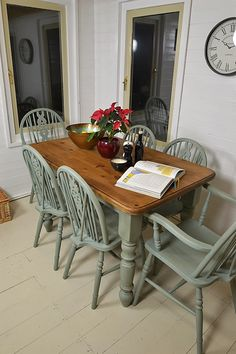 Dine in style with this gorgeous farmhouse dining set, hand painted in Annie Sloan Duck Egg Blue, lightly distressed and waxed.  With six wheelback chairs (2 carvers), this is the perfect set for the family.