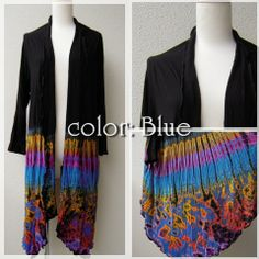 Psychedelic Tie-dye Spandex Jacket -Color Type Blue-