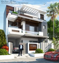 Residence Design For Meerut . House Outside Design, House Front Design, Design Your Dream House, Modern Exterior House Designs, Modern Architecture House, Modern House Design, Exterior Design, 3 Storey House Design, Bungalow House Design