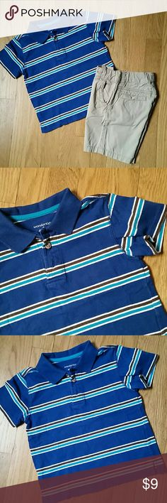 Size 3T polo shirt and shorts Bundle of TWO items -- both 100% cotton:  1) Wonder Kids striped polo shirt. In excellent condition; no stains, marks, or holes, and almost no signs of wear at all.  Tag says size 4T, but this runs short and measures similar to size 3T shirts I have.  2) Old Navy flat front khaki shorts. Has adjustable waist tabs inside the waist. In good condition; no stains or marks or holes, just slight signs of gentle overall wash and wear.  ** Price is firm unless bundled…