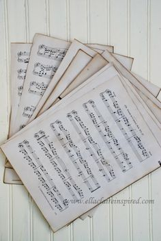 {Ella Claire}: How to Make New Sheet Music Look Old-Just in case you need some old sheet music Music Paper, Paper Art, Paper Crafts, Altered Books, Free Printable Sheet Music, Crafts To Do, Diy Crafts, Upcycling, Silhouettes