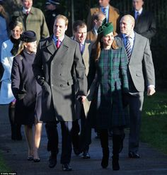 The Royal Family look in festive spirits as they walk to church for the traditional Christmas Day service.