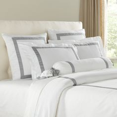 "Celina Bedding Collection, Gray & White | Crafted from ultrasoft 100% Egyptian cotton, this duvet is accented by 2"" self-flanged edges and features carefully stitched button enclosures at the foot. Enhanced by gray grosgrain ribbon details."