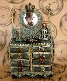 Matchbox dresser made for a tutorial on using matchboxes in a Steampunk style item.