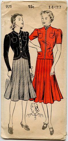 Late 1930s Dress Pattern New York 971 Ladies by GreyDogVintage, $32.00