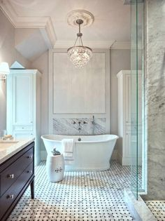 Flush Mount Crystal Bathroom Traditional With Carrara Marble French Blue Mosaic Tile Freestanding Bathtub Wall Mounted Tub Filler Chandelier