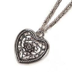 Filigree Heart Pendant on Triple Chain Necklace