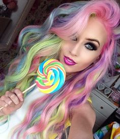 Amy the Mermaid with pastel rainbow hair. One day!