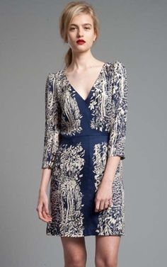 Tracy Reese Midnight Blue and Parchment Toile Scarf Inset Chemise