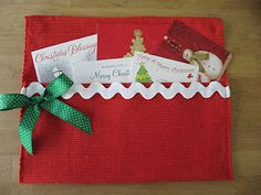 Christmas card holder from placemat - would also be great for bedside/couchside remote control holder