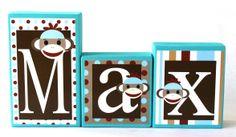 Max Collection  Name Blocks  Sock Monkey theme name by slcshop, $8.00