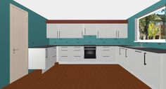 Simplistic. White Shaker Cabinetry with Wooden Worktops.  Free 3D Kitchen Planner.