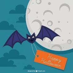 Murciélago con etiqueta de Halloween