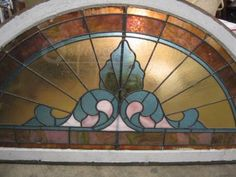 shopgoodwill.com: 55` Arched Stained Glass Window Framed To Install