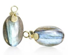 oval labradorite drops with diamonds on triple leaf tops in 18kt yellow