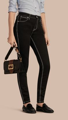 Black Skinny Fit Stretch Jeans with Contrast Topstitching 1