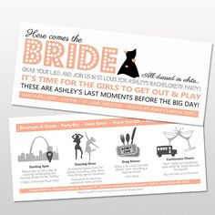 Double Sided Bachelorette Party Save The Dates or Invitations with Little Black Dress, Itinerary & Customizable Colors on Etsy, $20.00