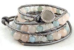 Leather Wrap Bracelet Rose Quartz Bracelet by BelkysBracelets, $37.06