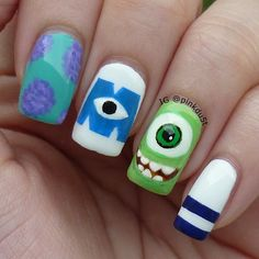 Nails Art Halloween Disney New Ideas Monster University Nails, Monster Inc Nails, Clear Nail Designs, Nail Polish Designs, Cute Nail Designs, Cute Nail Art, Cute Nails, Pretty Nails, Cartoon Nail Designs
