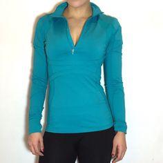 Lululemon Teal 1/2 Zip Jacket Lululemon 1/2 zip jacket! Beautiful teal color. Lululemon logo on top back. -Thumbholes. -Size 6. -Like new! No flaws.  NO Trades. Please make all offers through offer button. lululemon athletica Jackets & Coats