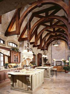 http://ueberschriftennews.blogspot.com/2012/06/steinwerk-ambiente-eine-steinwand.html The Great Hall Kitchen....What a dream space