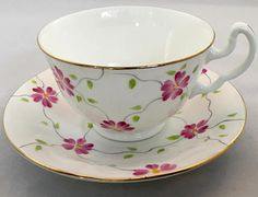 Adderley Teacup and Saucer Lawley Pink Floral