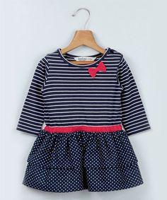 Navy Stripe & Heart Bow Dress - Infant, Toddler & Girls
