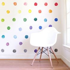 Small Rainbow Watercolor Dots are a set of Mej Mej fabric wall decals from the Color Story children's decor collection.