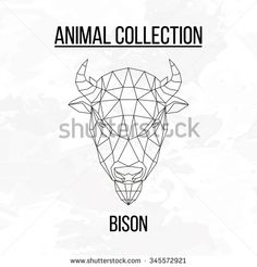 Bison head geometric lines silhouette isolated on white background vintage vector design element illustration