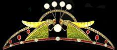 Art Nouveau grasshopper tiara by Luis Masriera. Enamel, rubies, pearls and diamonds.