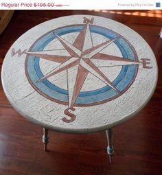 Items similar to SOLD -OOAK Side Table Compass Nautical Hand Painted and Distressed Crackled Accent Table Chic Cottage French Country on Etsy Nautical Table, Nautical Compass, Nautical Design, Nautical Home, Upcycled Furniture, Painted Furniture, Diy Furniture, Deco Marine, Compass Design