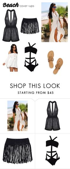 """""""Beach cover ups"""" by dianthesiva ❤ liked on Polyvore featuring PacSun, Topshop and Tory Burch"""