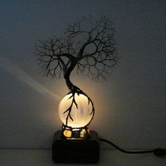 Full Moon rising Wire Tree Of Life Ancient Spirit by CrowsFeathers