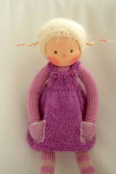 Waldorf knitted doll Clara 13 by Peperuda dolls by danielapetrova