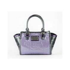 Hello Kitty Embossed Tote Purple Exclusive ($110) ❤ liked on Polyvore featuring bags, handbags, tote bags, hello kitty purse, purple tote, tote purses, handbags totes and tote bag purse