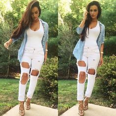 Asos white ripped jeans Size 4 US. However I am a four usually and these did not fit. Passion For Fashion, Love Fashion, Womens Fashion, Fashion Beauty, Casual Outfits, Cute Outfits, Fashion Outfits, Fashion Clothes, Fall Outfits