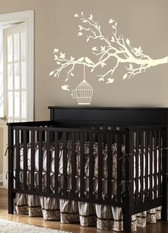 White tree branch, bird cage and birds wall decal - on Etsy, $69.00