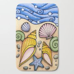 Seashells Sea Shells Tropical Beach Art Painting Bath Mat by Holly Kitaura Art - x Seashell Painting, Seashell Art, Drawing For Kids, Art For Kids, Shell Drawing, Hawaiian Art, 5th Grade Art, Beach Watercolor, Kawaii Doodles