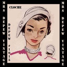 Vintage Sewing Pattern 1950's Cloche Hat PDF Printable Copy Depew 1015 -INSTANT DOWNLOAD-