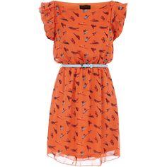 Orange bird printed dress ❤ liked on Polyvore