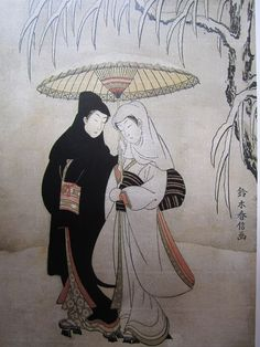 Suzuki Harunobu (1725-1770) - Condividendo the umbrella in the snow