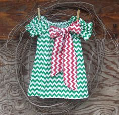 Girls Christmas Dress  Green Chevron  Dress by SouthernSister2, $30.00