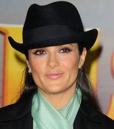 Salma Hayek rocks a derby hat. Compare styles on Amazon at http://buyfascinatorhats.com