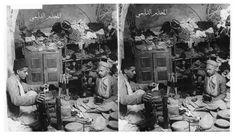 احد محال تصنيع وغزل خيوط الحرير في بغداد في العهد العثماني . . A Typical Oriental Silk Store, Bagdad,