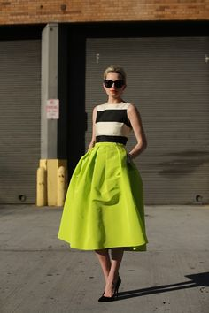 Skirt: inverted pleats and that color. Top is actually Kate Spade dress (too much of a layer for me, but it works in photo. via Atlantic-Pacific