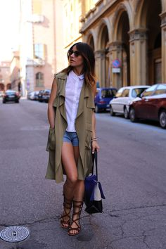 zara-sleeveless-coat denim hm shorts and white sleeveless shirt/ Celine bag and Pinko gladiators sandals