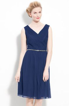 """Nordstrom: Donna Morgan Belted Ruched Chiffon Dress available at Nordstrom """"Blue princess"""" ?? $158"""