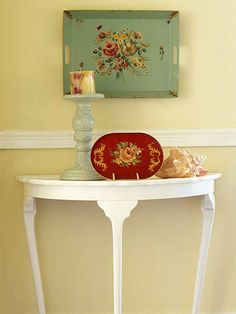 Cottage Accessories: Create the cottage look in your home by using pretty pastels and some of these traditional cottage accessories. Tray Chic:   Floral trays look like vintage art pieces when propped up in a plate stand or hung on the wall.