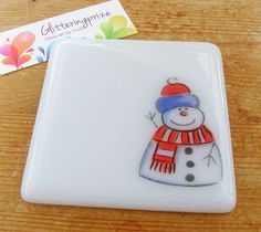 Christmas Snowman Fused Glass Coaster UK by GlitteringprizeGlass, £5.95