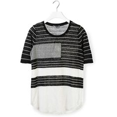 Vince T-Shirt ($125) ❤ liked on Polyvore featuring tops, t-shirts, black and white striped tee, crew neck tee, crewneck tee, striped t shirt and stripe t shirt